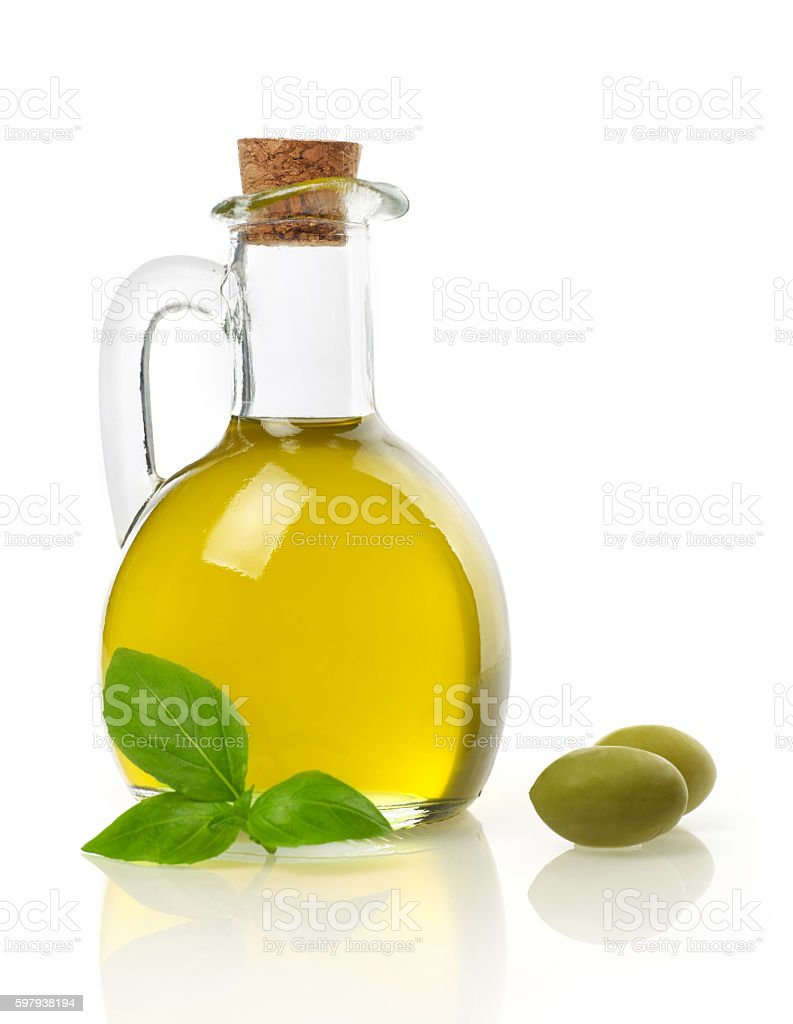 Virgin oil, olives and basil stock photo
