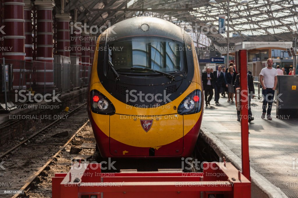 Virgin Pendolino at Liverpool Lime Street Station stock photo