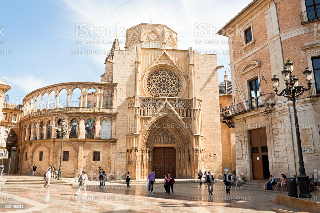 Virgin square and the Valencia cathedral in Spain. stock photo