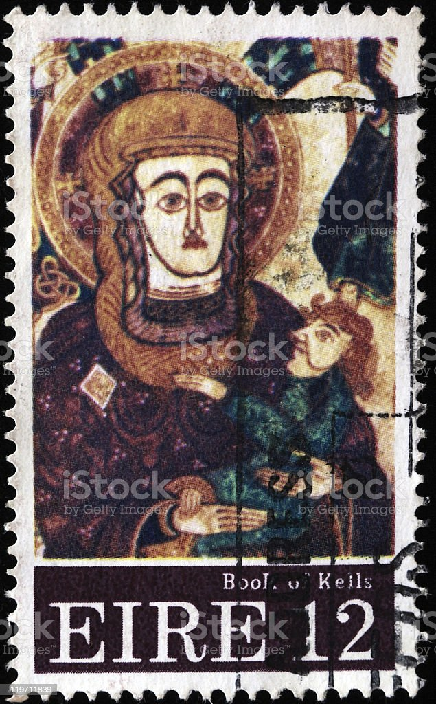Virgin with child from the Book of Kelly royalty-free stock photo