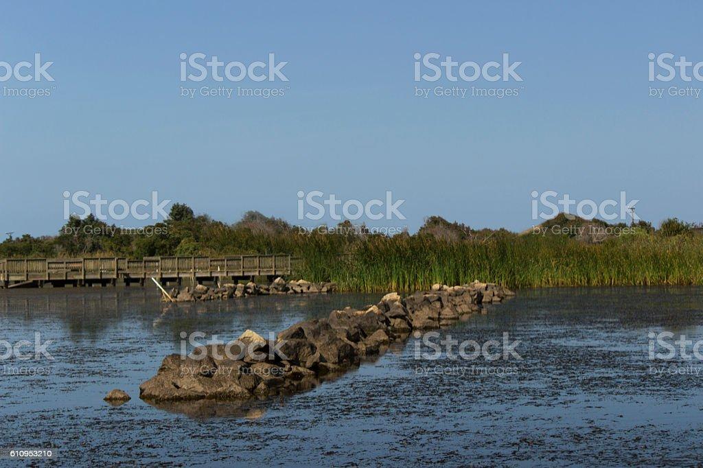 Virginia Back Bay walkway water break stock photo