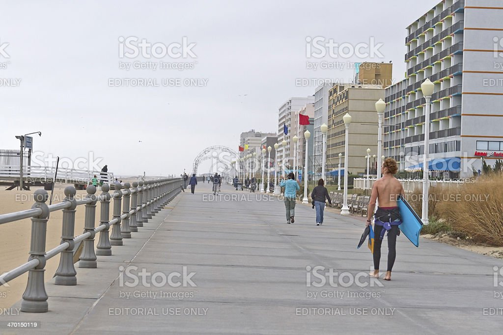 Virginia Beach Boardwalk in October stock photo