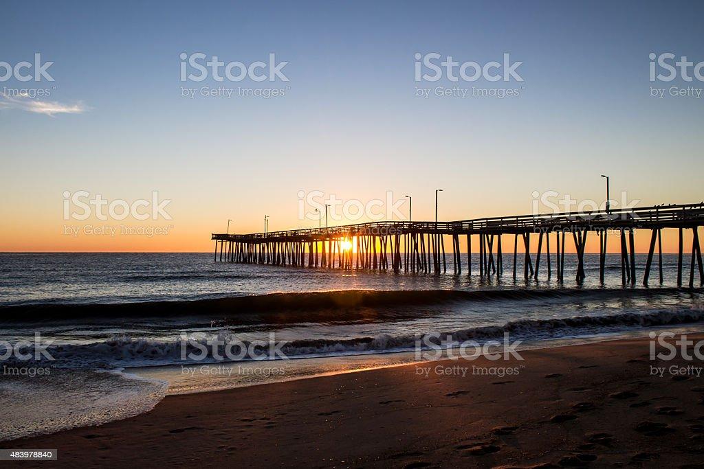 Virginia Beach Fishing Pier at Sunrise stock photo