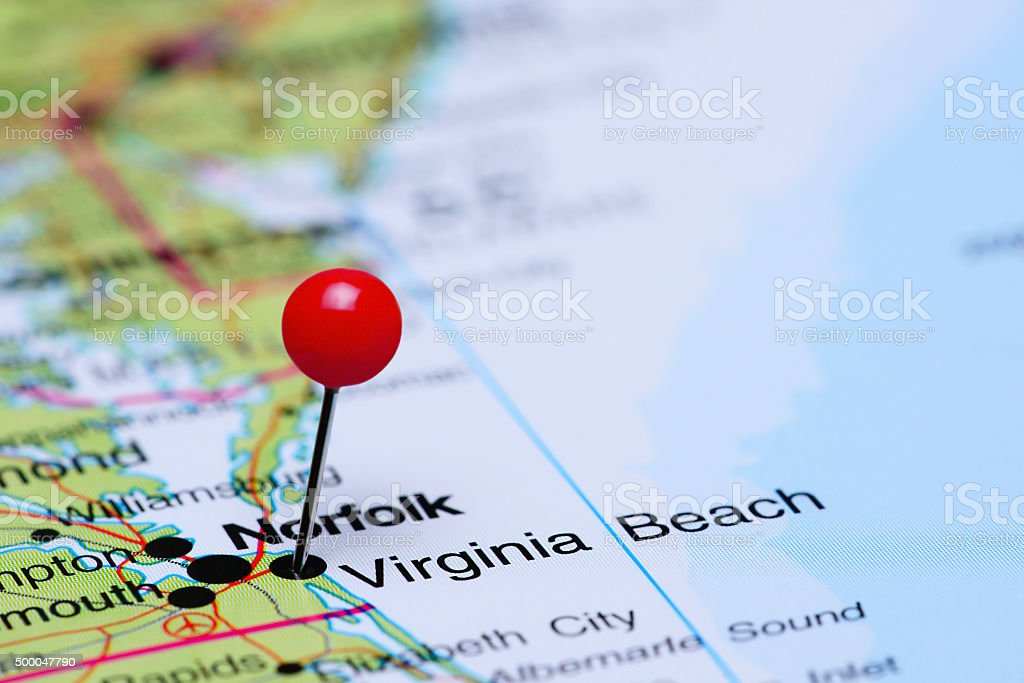 Virginia Beach pinned on a map of USA stock photo