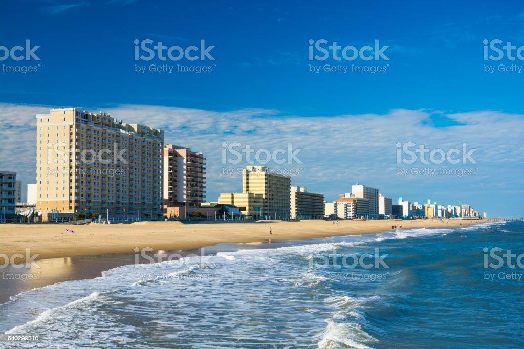 Virginia Beach Skyline, Coastal Beach View stock photo
