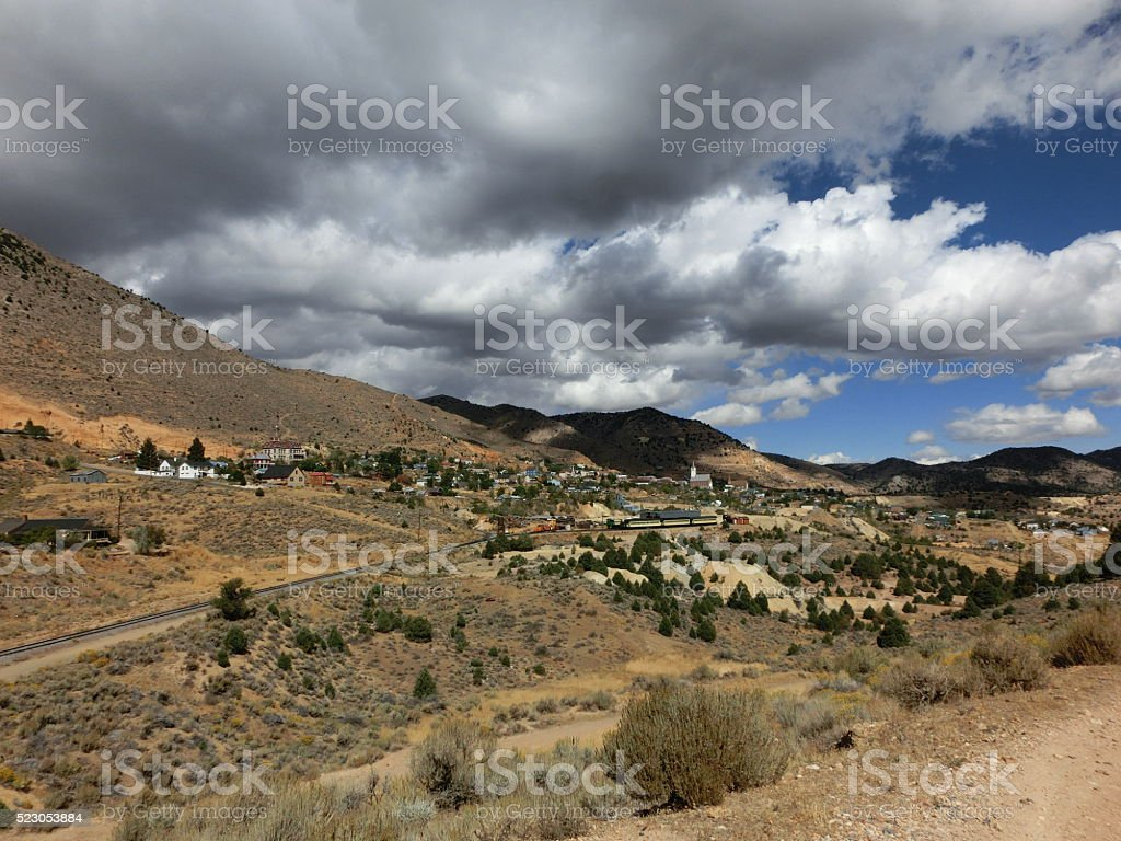Virginia City silver mining ghost town beautiful view stock photo