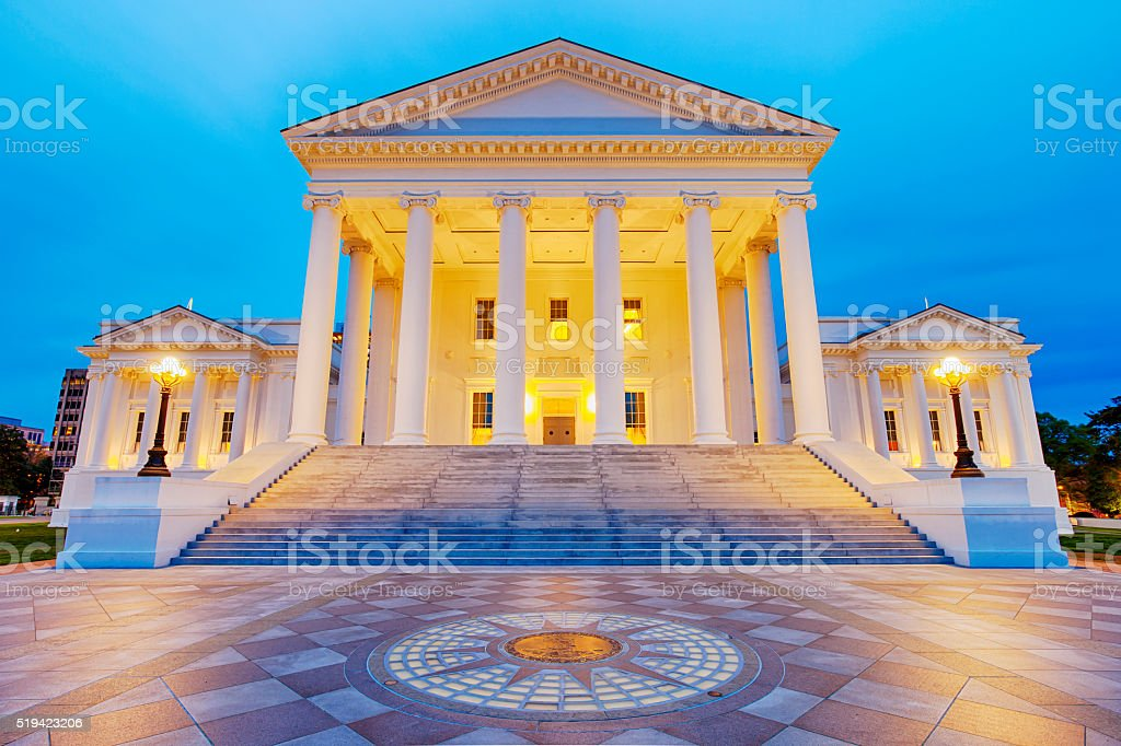 Virginia State Capitol In Richmond At Night stock photo