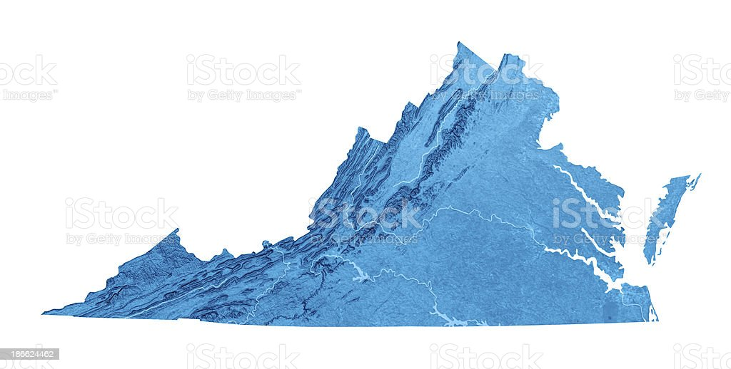 Virginia Topographic Map Isolated royalty-free stock photo