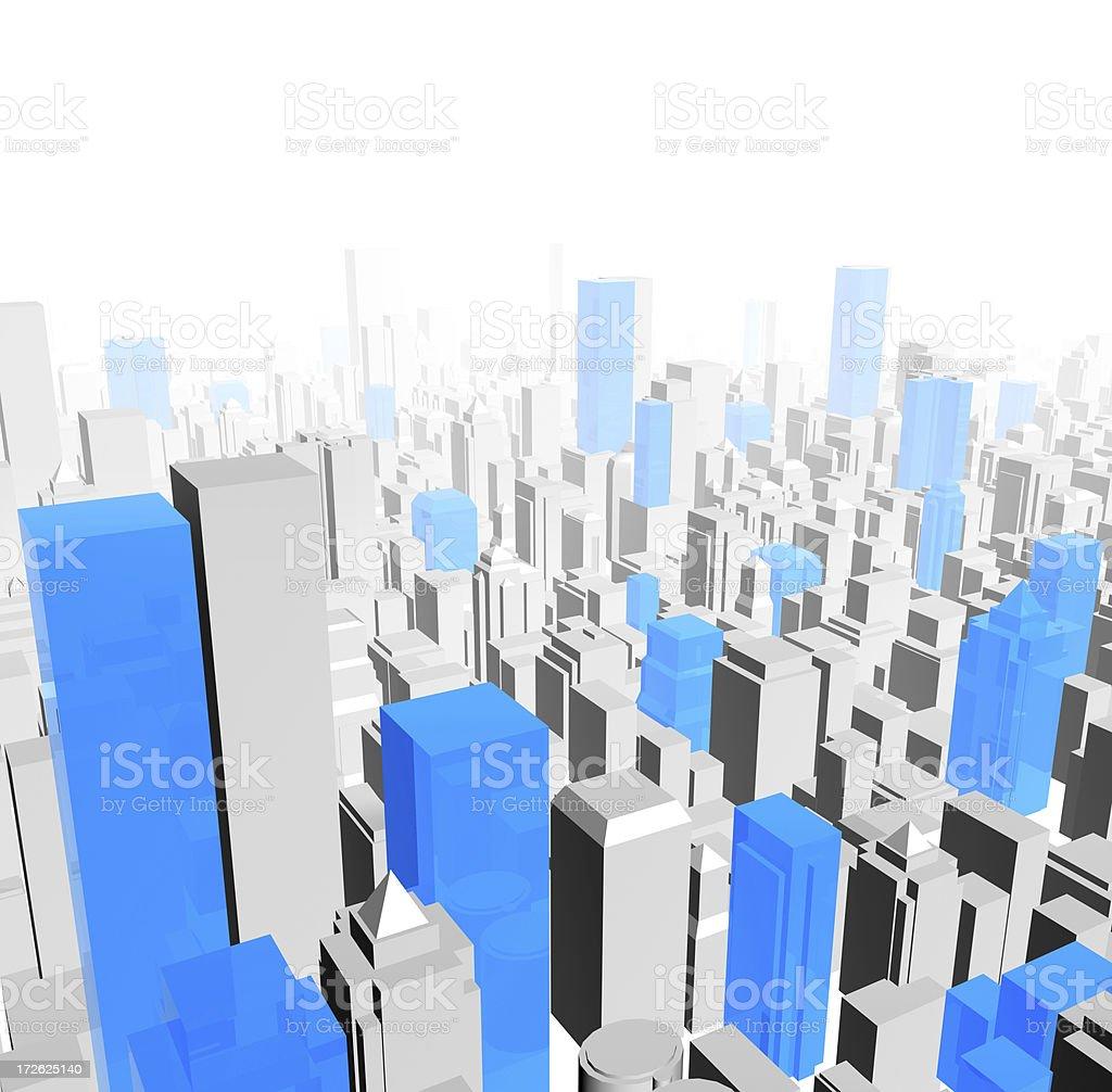 Virtual 3d City royalty-free stock photo