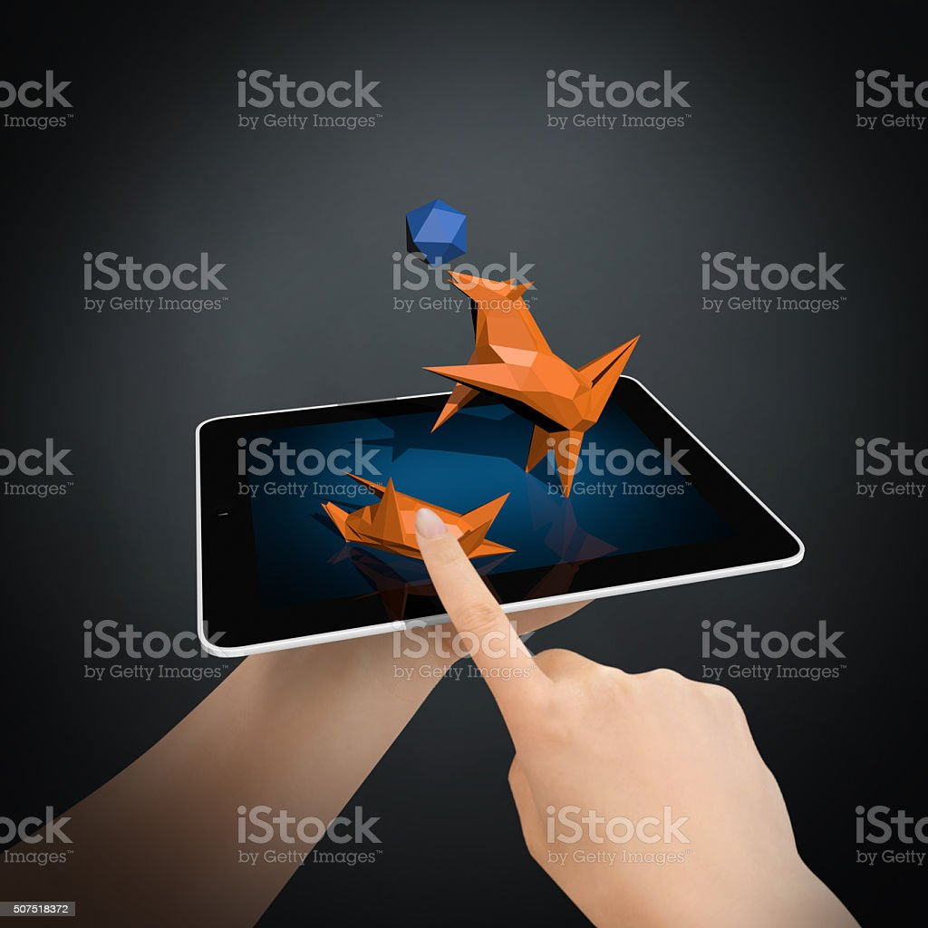 Virtual Animal Love on New Generation Tablet PC stock photo