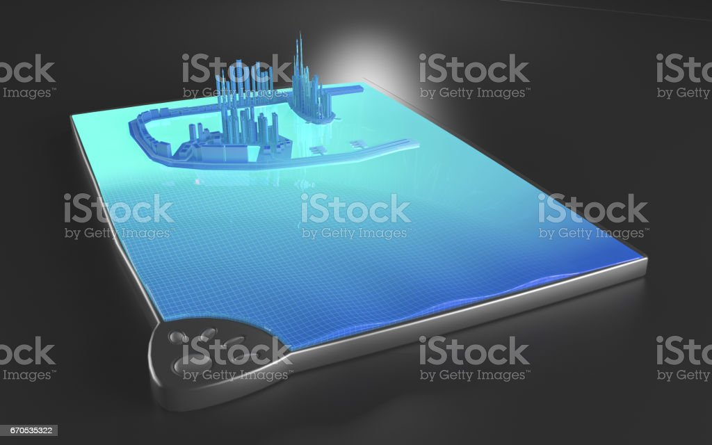 Virtual Augmented Reality Tablet City stock photo