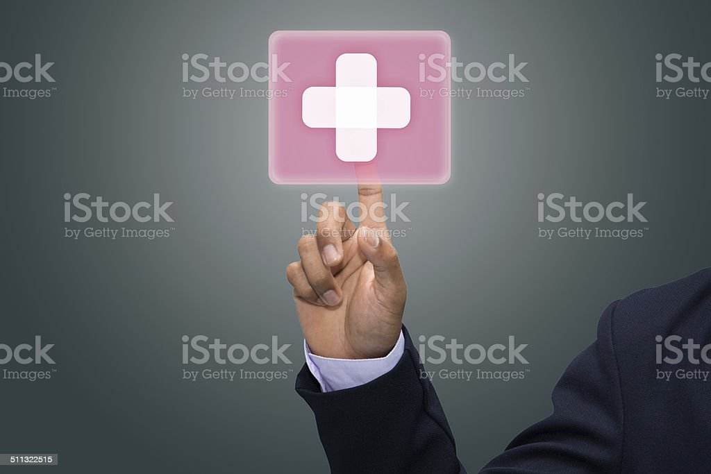 virtual button with first aid sign. stock photo