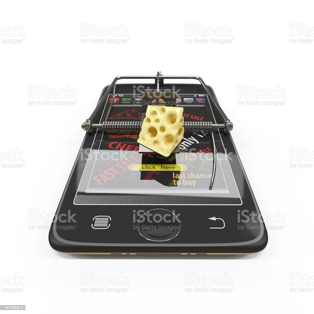virtual cheese. smartphone as mousetrap advertising concept stock photo