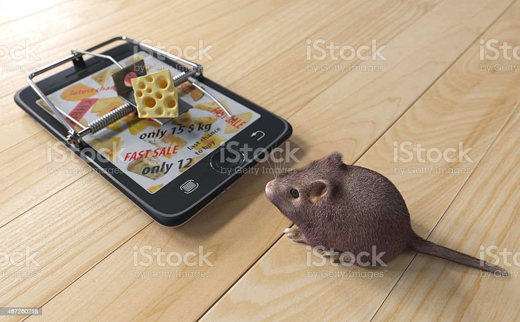 virtual cheese. smartphone as mousetrap and mouse advertising concept stock photo