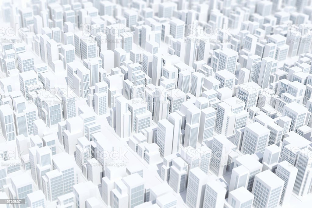 Virtual city white background, with geometric buildings pattern royalty-free stock photo
