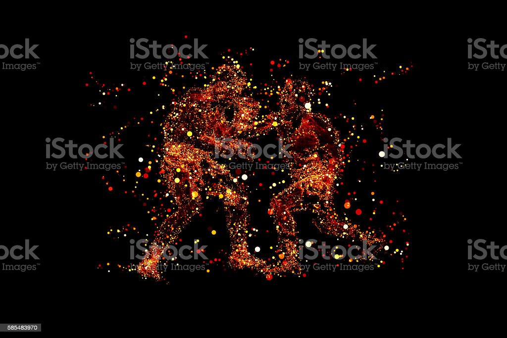 Virtual Fighting Athletes stock photo