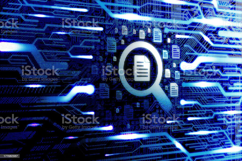 Virtual file searching icon on technology background stock photo