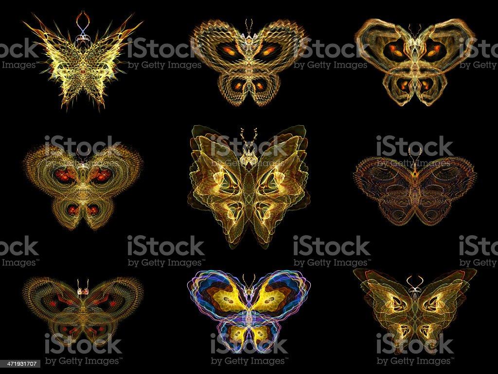 Virtual Fractal Butterflies royalty-free stock photo
