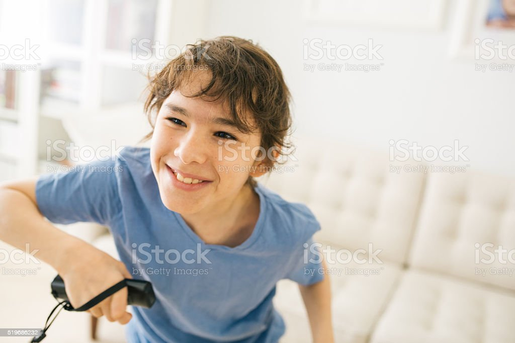 Virtual games and young kids stock photo
