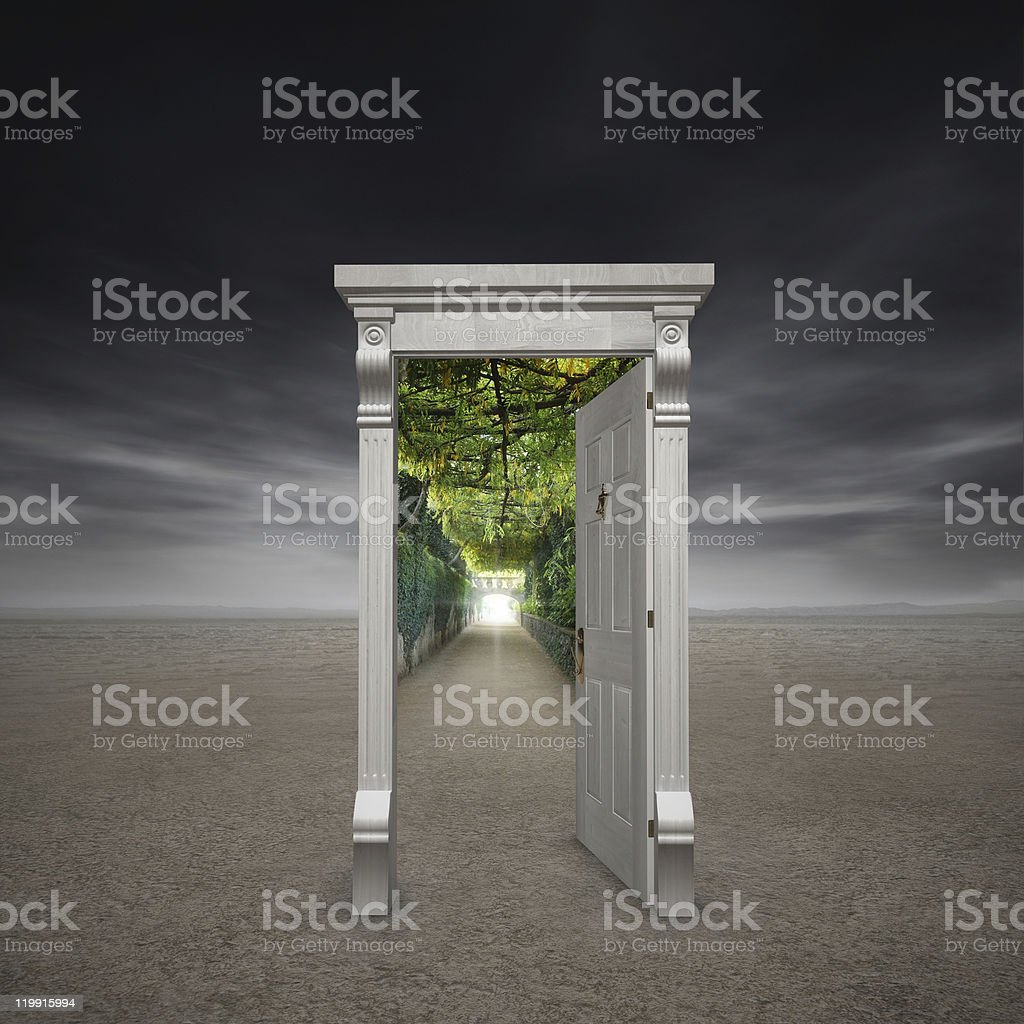 Virtual gate on ground with luxuriant plants indoor royalty-free stock photo