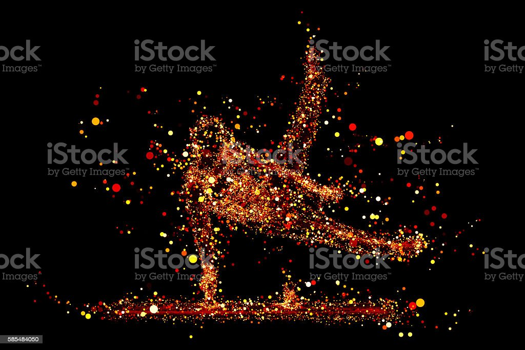 virtual gymnast, composed of red light-emitting lines stock photo