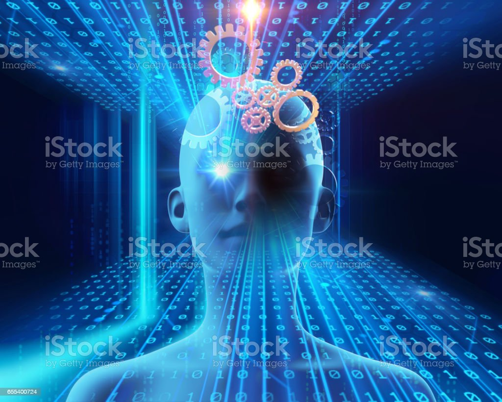 virtual human  abstract technology background 3d illustration stock photo