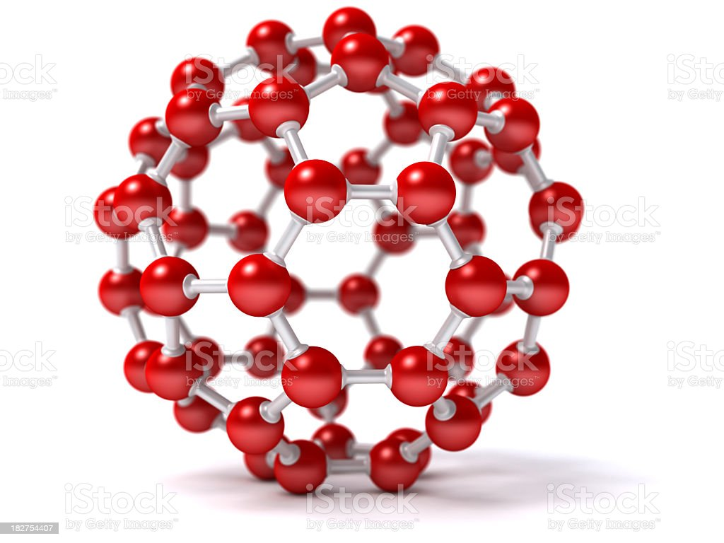 Virtual image of a red molecule royalty-free stock photo