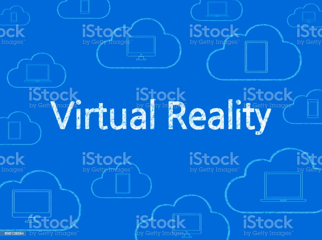 Virtual Reality - Business Chalkboard Background stock photo