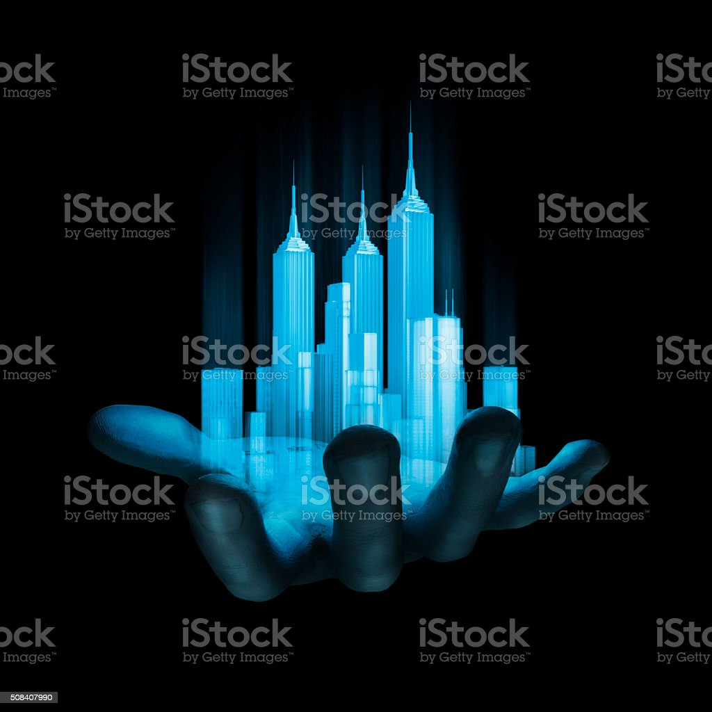 Virtual reality city stock photo