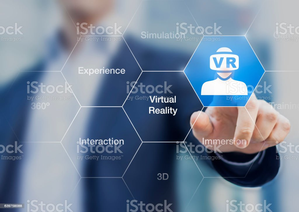 Virtual reality concept with VR headset icon on digital interface stock photo