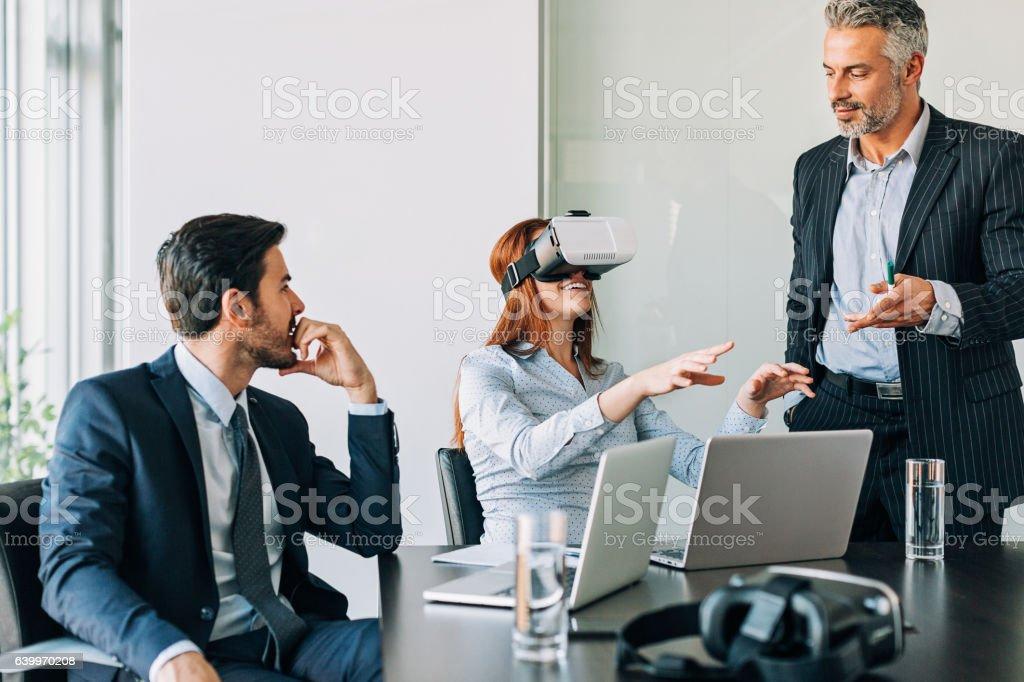 Virtual reality demonstration stock photo