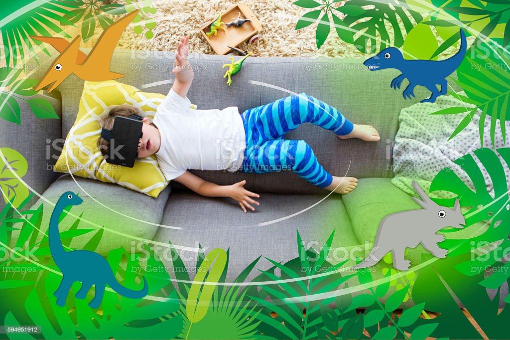 Virtual Reality Dinosaurs stock photo