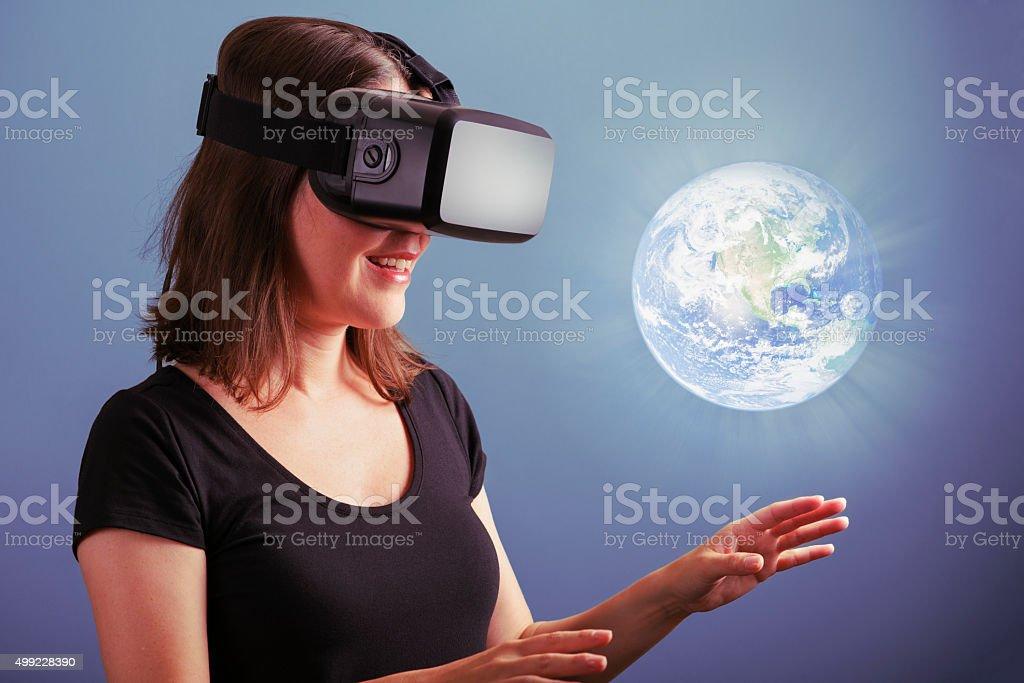 Virtual Reality Education Exploring Planet Earth stock photo
