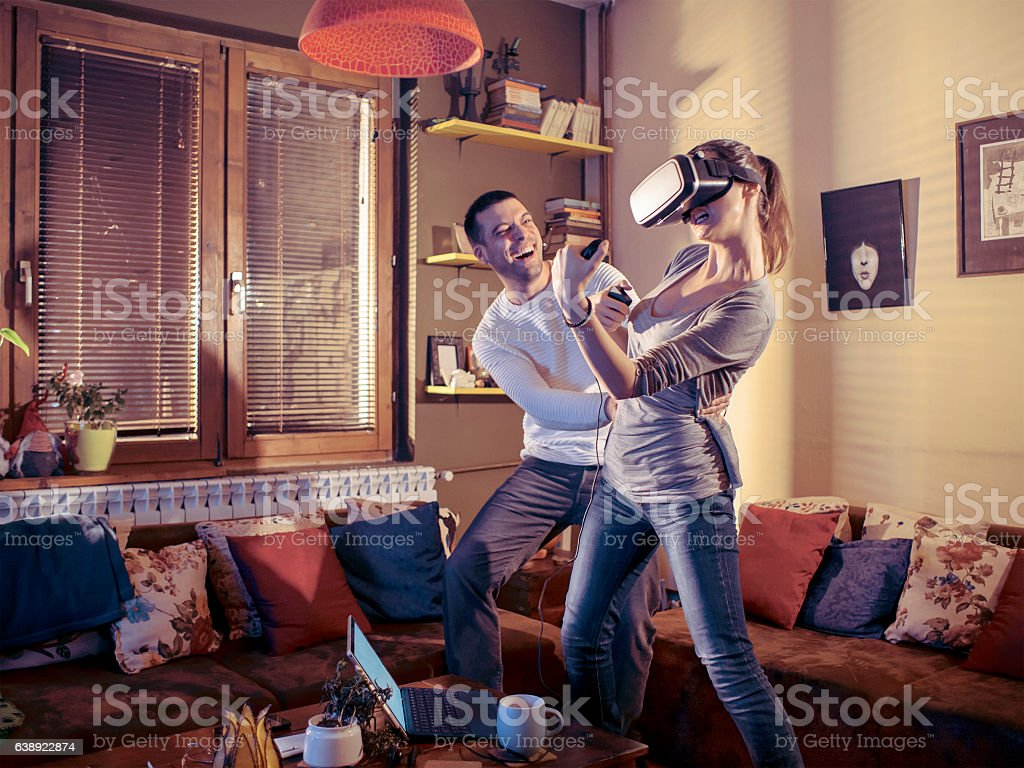 Virtual reality gamers stock photo