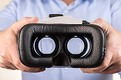 VR  virtual reality glasses on hand