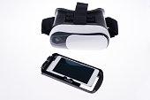 Virtual reality glasses Virtual reality goggles, white background