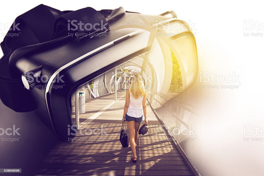 Virtual reality glasses, with three-dimensional image of woman w stock photo