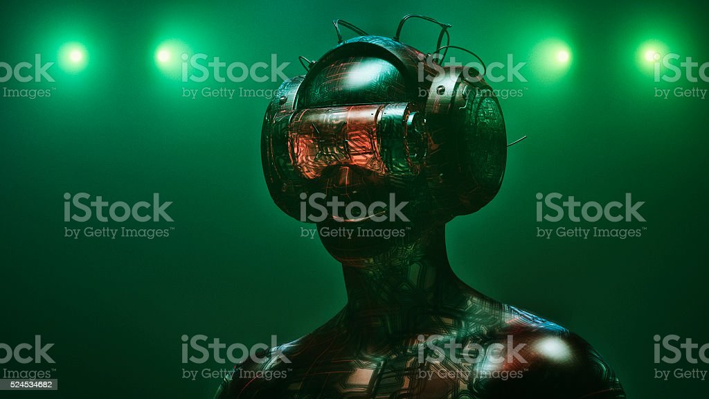 Virtual reality goggles and futuristic man stock photo