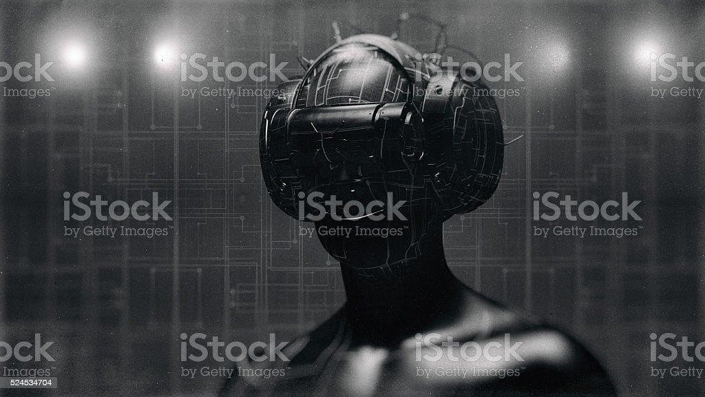 Virtual reality goggles and futuristic man stock photo