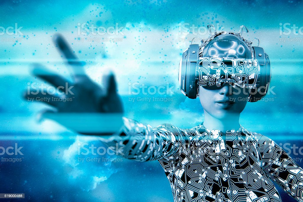 Virtual reality goggles and VR simulator stock photo