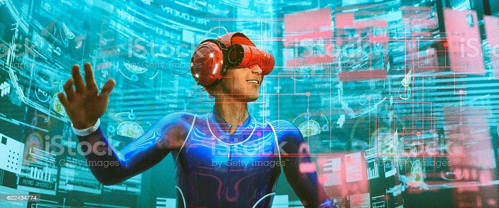 Virtual reality goggles and VR simulator stock photo