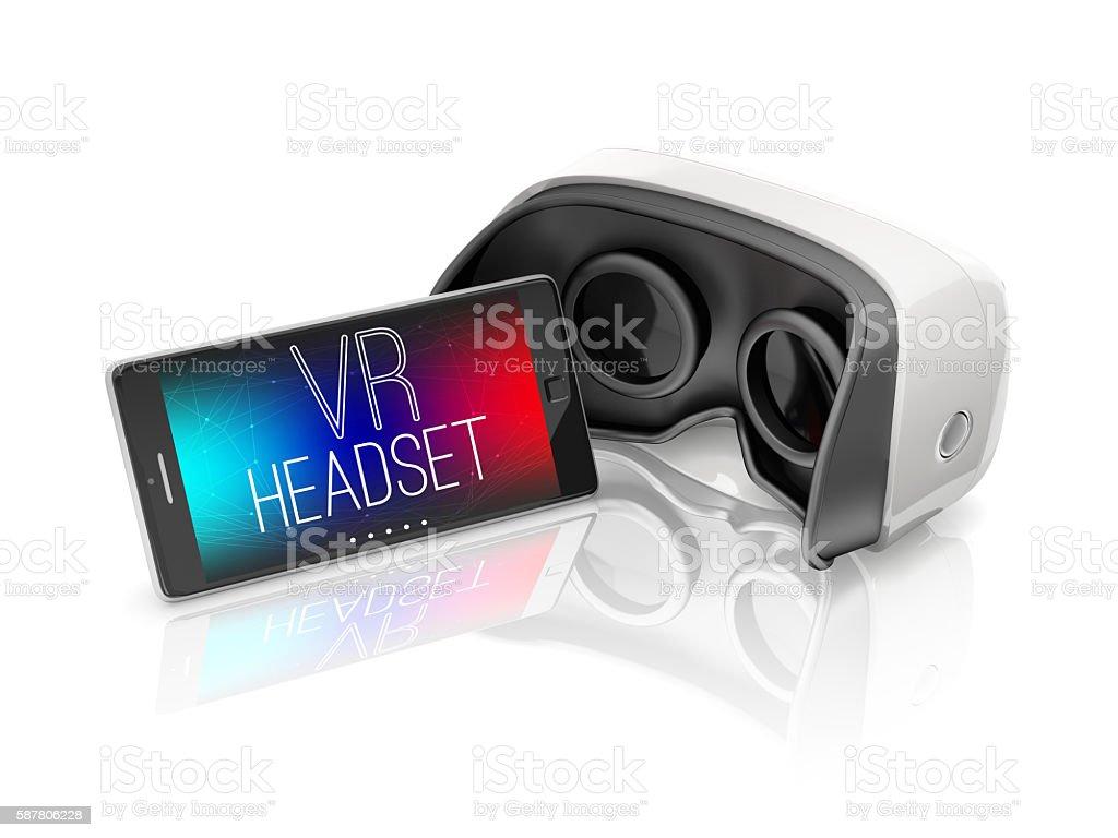 virtual reality headset and smartphone stock photo