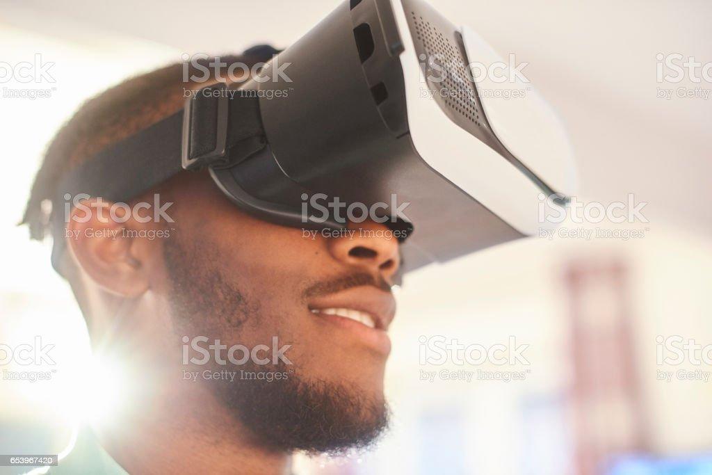 Virtual reality headset user stock photo