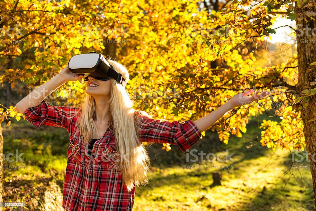 Virtual reality in forest ! stock photo
