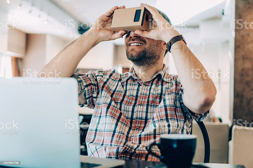 Virtual reality in the cafe shop stock photo
