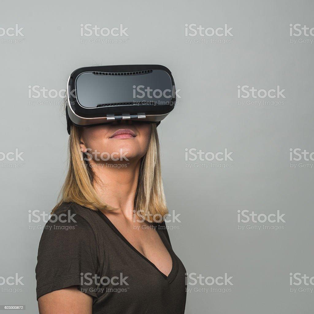 Virtual reality is so fun stock photo