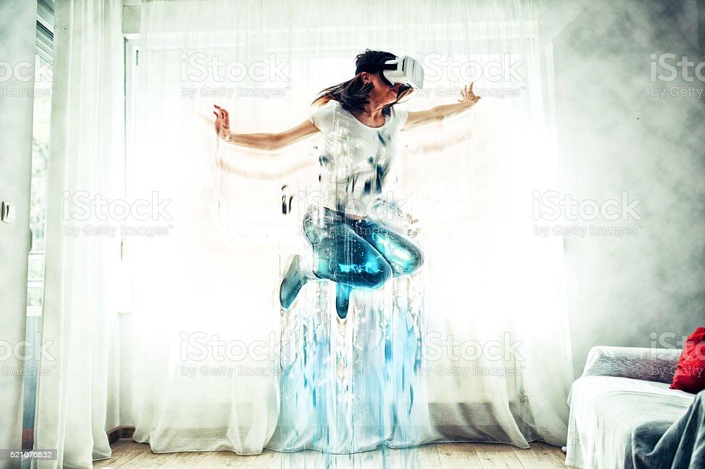 Virtual reality jumping stock photo