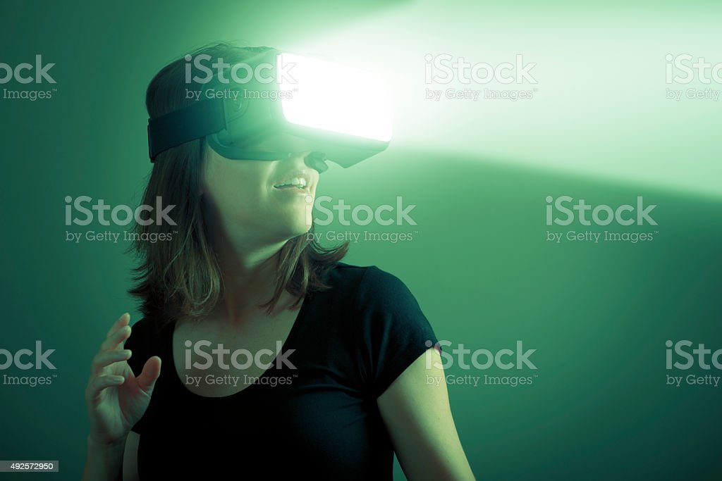 Virtual Reality Science Fiction Concept with VR Headset stock photo