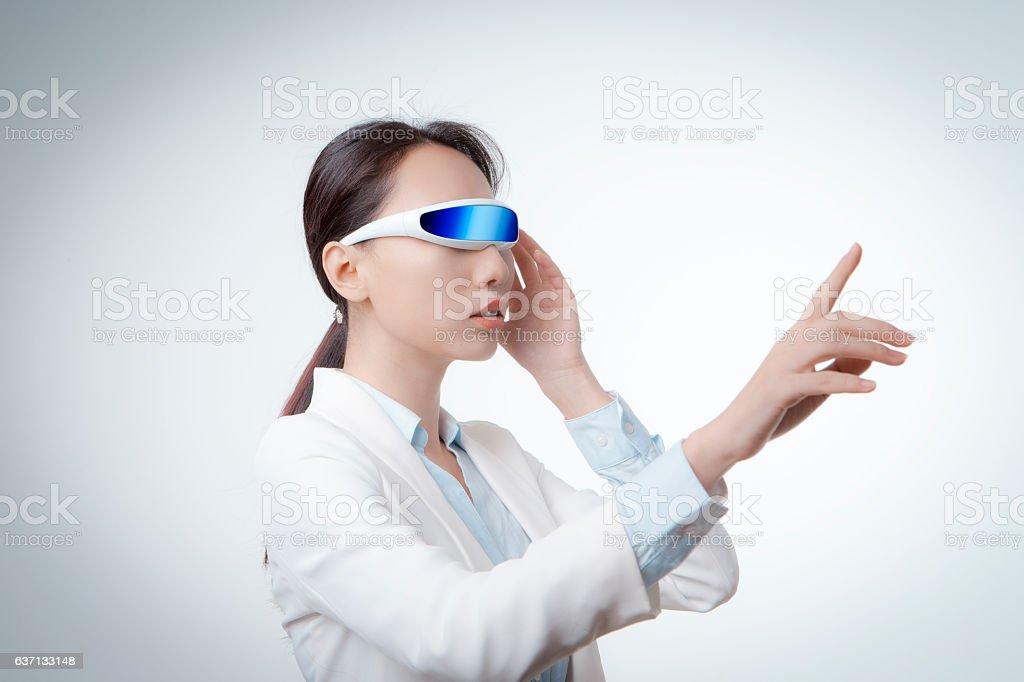 virtual reality simulator stock photo