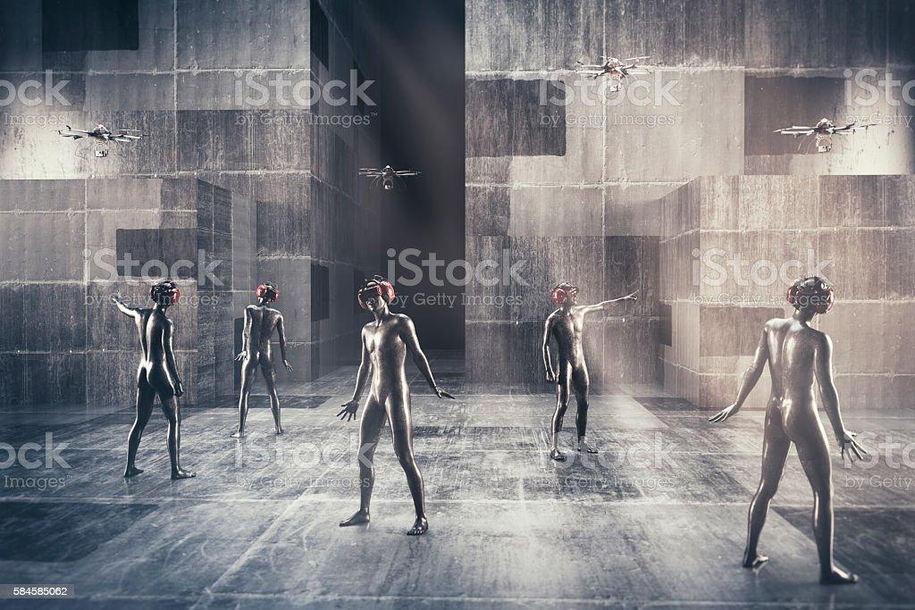 Virtual reality society stock photo